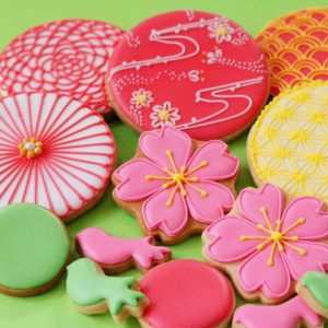 和柄の記念日ギフトのアイシングクッキー